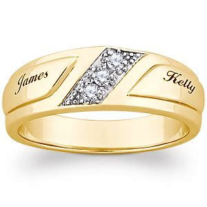 10K Yellow Gold CZ Mens Engraved Name Wedding Band   22368