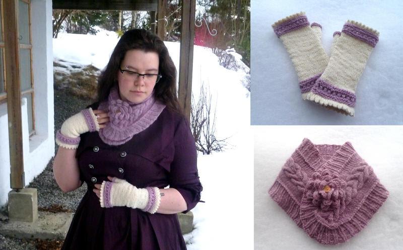 http://knitlizzy.deviantart.com/art/Jane-Austen-inspired-cowl-and-mittens-355981058