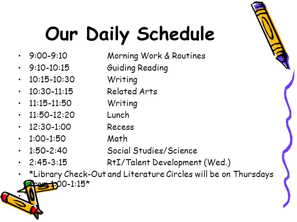 Daily Schedule Elementary School | Daily Planner