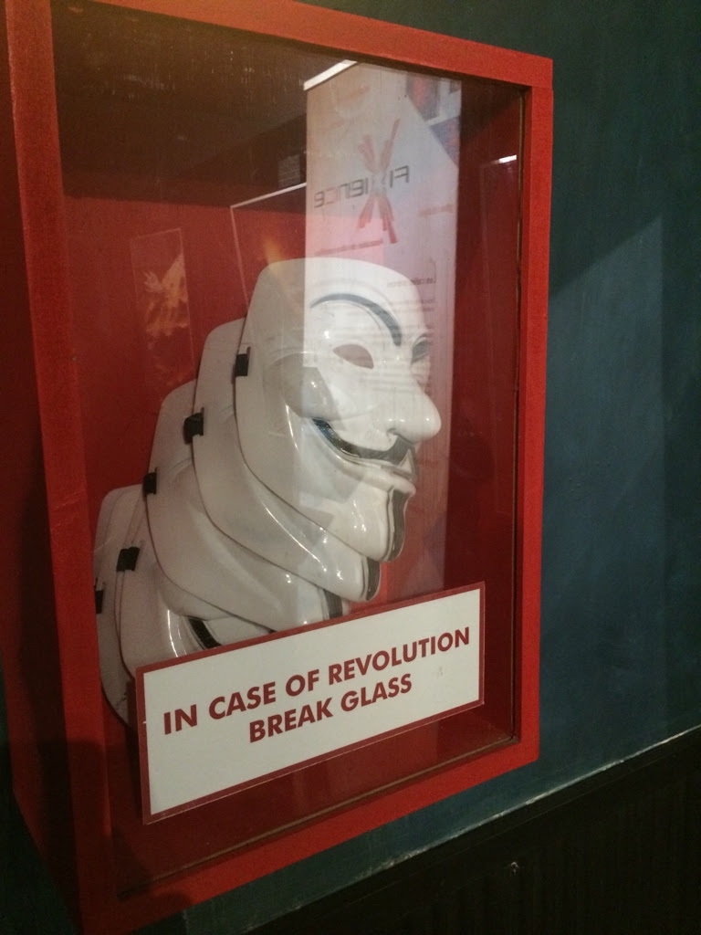 In case of revolution break glass | Guy Fawks masks | Tacky Harper's Cryptic Clues