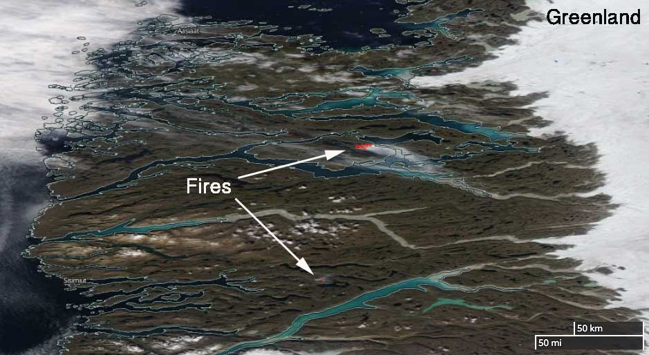 wildfires burning in Greenland