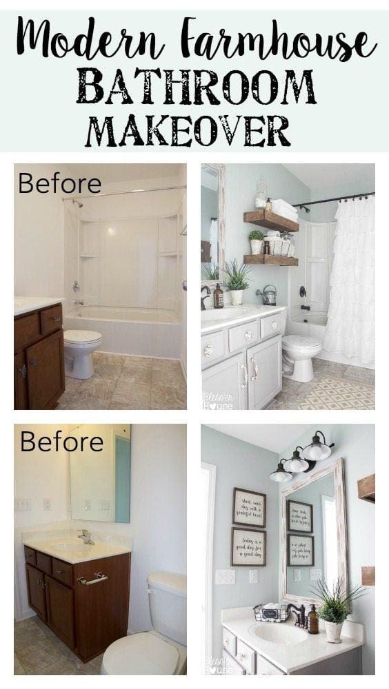 Modern Farmhouse Bathroom Makeover | Bless'er House - So ...