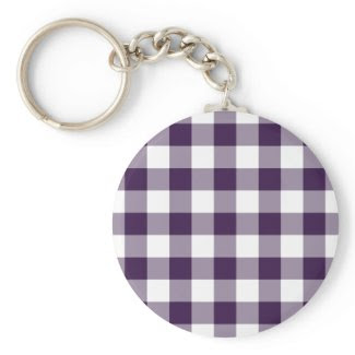 Purple and White Gingham Pattern keychain