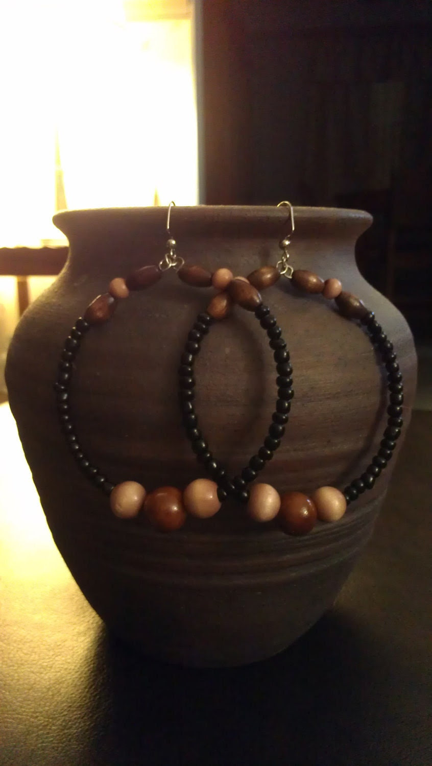 Black and Brown Beaded Hoop Earrings with Wooden and Glass Beads