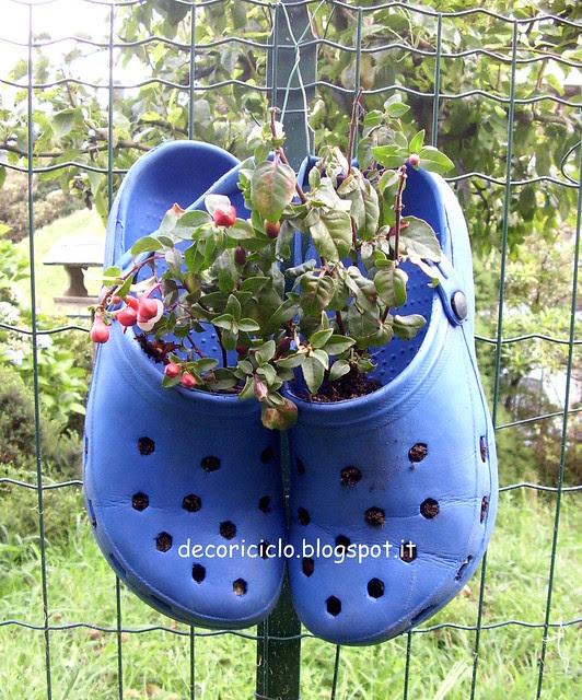 ciabatte-vaso per piante di fronte