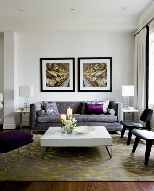 Jane Lockhart Living Room, purple accents - Transitional ...