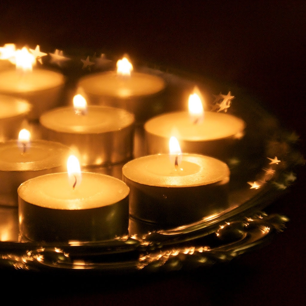 candle photo 8 x 8, candlelight photo, warm, glowing, golden, romantic, candlelight dinner, stars, winter, cosy, silver tray
