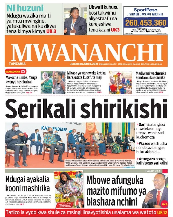 Front and Back Pages of Tanzanian Newspaper Today May 08th, 2021
