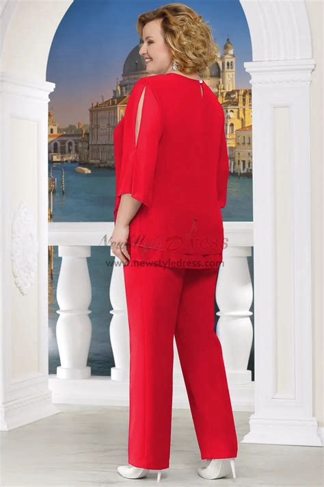 red  size mother   bride pant suits  piece chiffon women outfits nmo