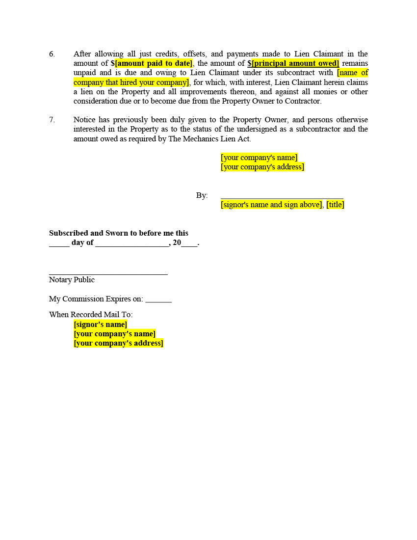 Click here to view a sample Mechanics Lien form for a fictitious st a ...