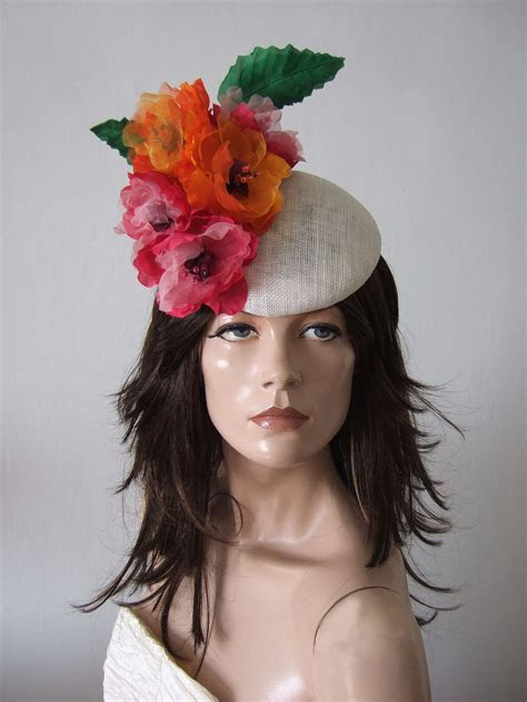 Floral Fasciniator Hat Headpiece with Silk Flowers for the