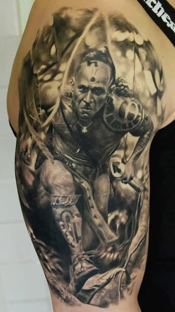 3d American Indian Tattoo On Half Sleeve