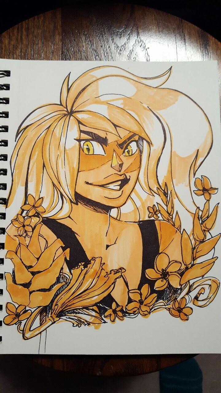 Inktober, Day 23~! Today's gem is Jasper!! :D First time I have really legit drawn her! Actually took a couple of tries since she takes up so much of the page by her hair alone, but I think I got her....
