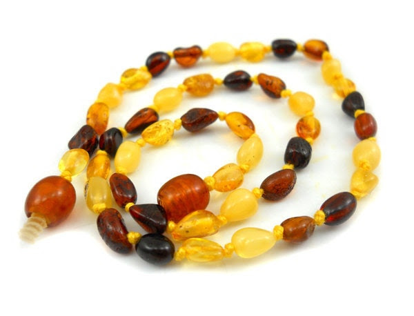 Baltic Amber Baby Teething Necklace. 4 color olive beads -citrine - butter - cognac - cherry