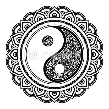 Mandala Del Tatuaje De Vector Alheña Símbolo Yin Y El Yang