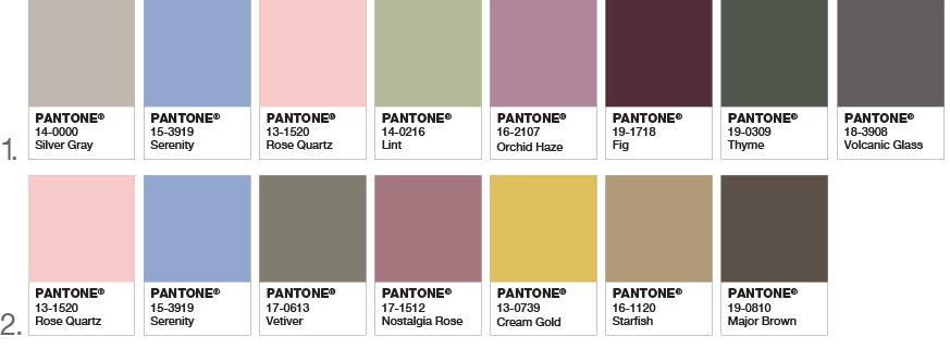 pantone colour selection of 2016