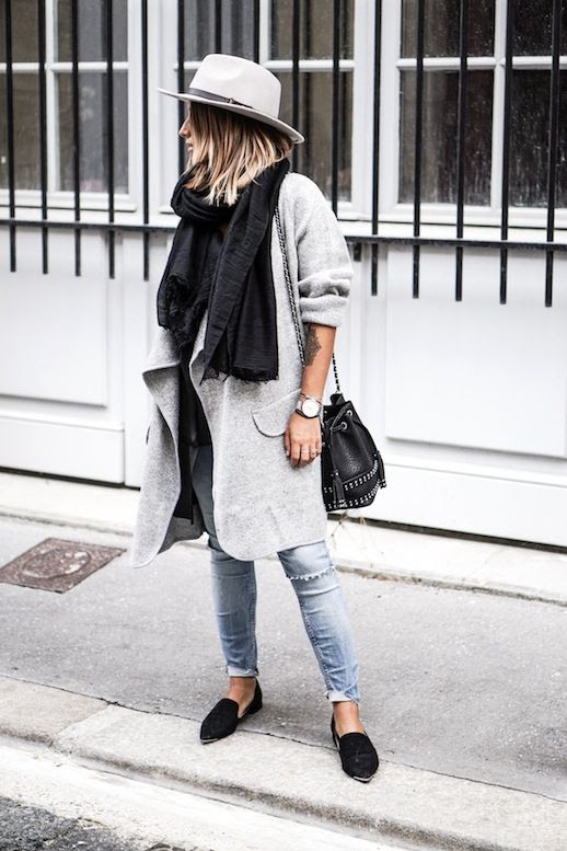 Le Fashion Blog Blogger Style Beige Fedora Black Scarf Grey Coat Studded Bucket Bag Ripped Jeans Pointed Toe FlatsVia Noholita