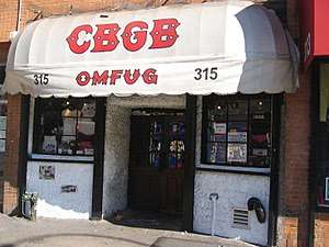 CBGB club facade, Bowery St, New York City. Ph...