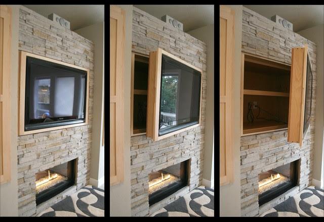 Hidden Storage + Swinging TV Cabinet - modern - living room ...