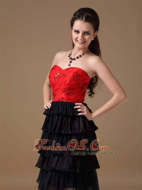 Cute Black and Red A line Sweetheart Short Prom Dress