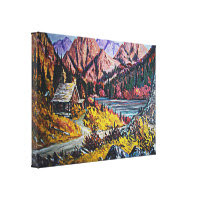 Cabin By the Lake Oil Painting Stretched Canvas Print