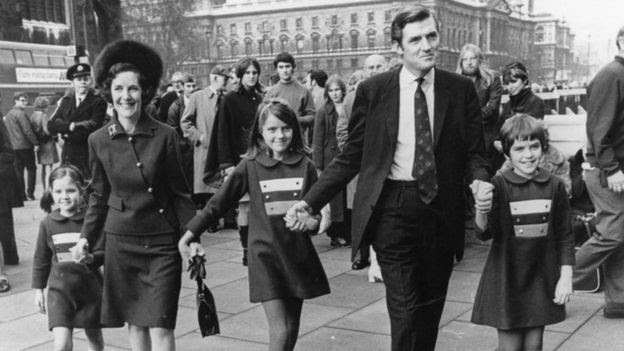 Cecil Parkinson after his by-election victory in 1970, arriving at the House of Commons with his family, prior to taking his seat in Parliament.