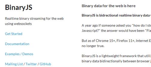 binaryjs a javascript library for realtime binary