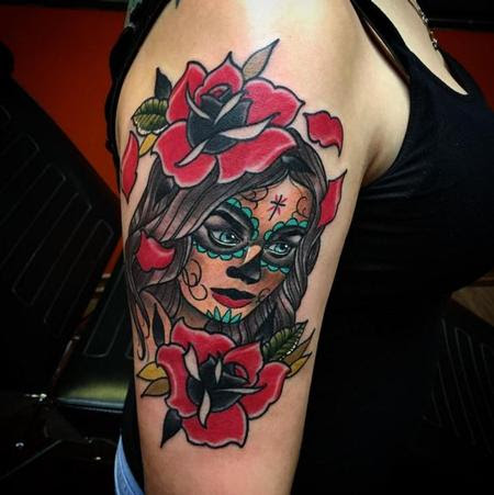 Depiction Tattoo Gallery Tattoos Flower Day Of The Dead Woman