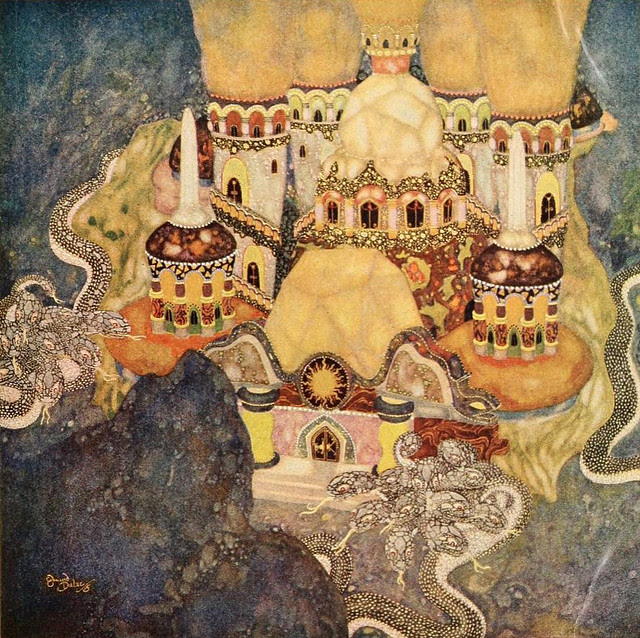 """Edmund Dulac - 'The Palace of the Dragon King"""" from Fairy Tales of the Allied Nations"""