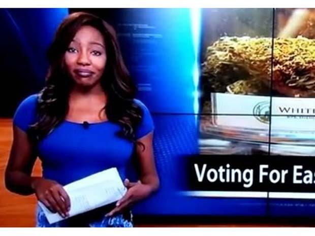 A jornalista Charlo Greene, de um canal do Alasca, se demite ao vivo e diz que vai trabalhar pela legalização da maconha (Foto: Reprodução/ Twitter/ NBC News)