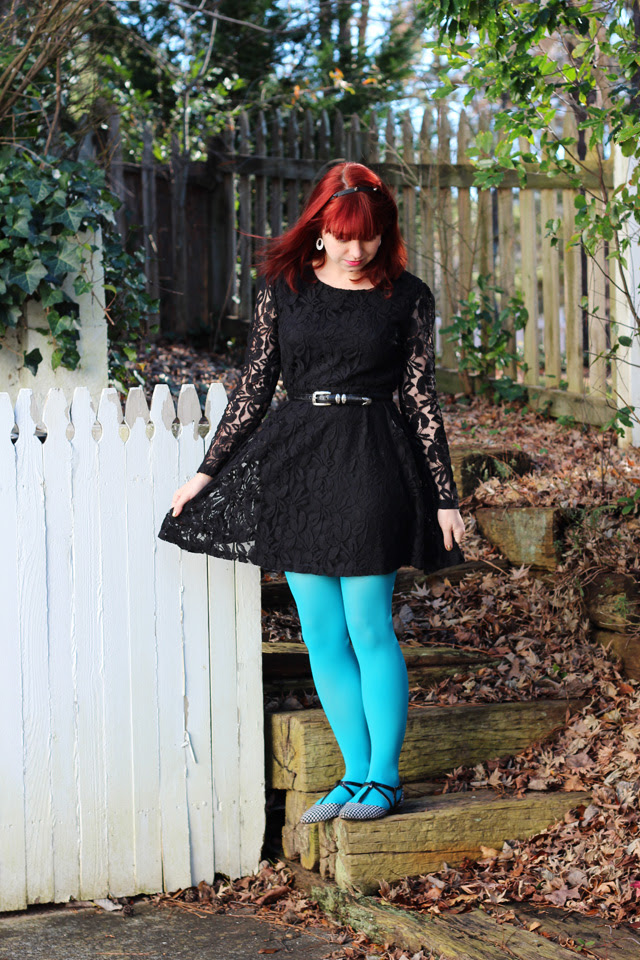 Black Lace Long Sleeved Dress and Bright Blue Tights