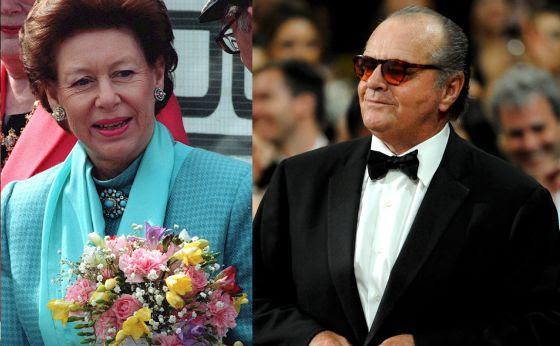 La princesa Margarita de Inglaterra y el actor Jack Nicholson