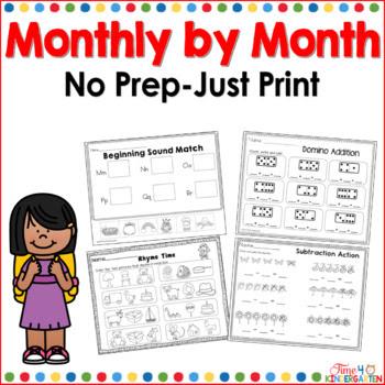 no prep, kindergarten, monthly themes, literacy, math