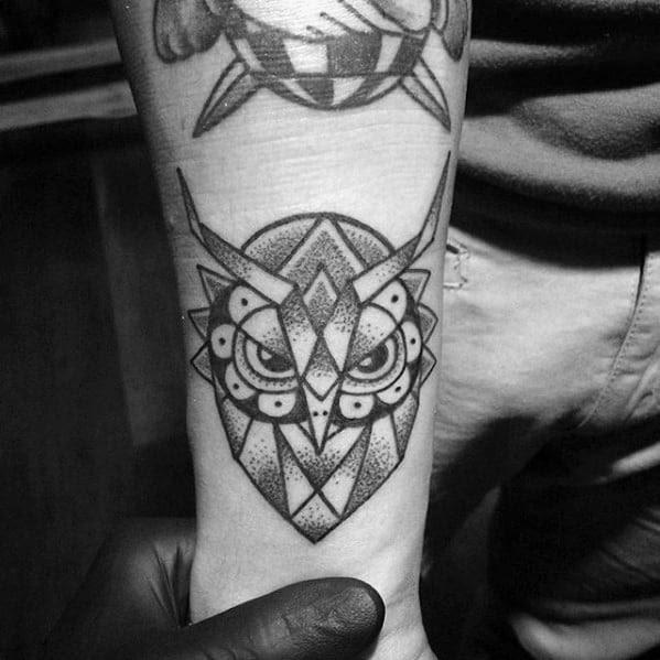 80 Geometric Owl Tattoo Designs For Men Shape Ink Ideas