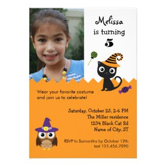 Cat and Owl Halloween Birthday Photo Invitation