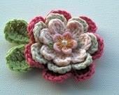 Crochet Flower Applique in Pinks - AnnieDesign