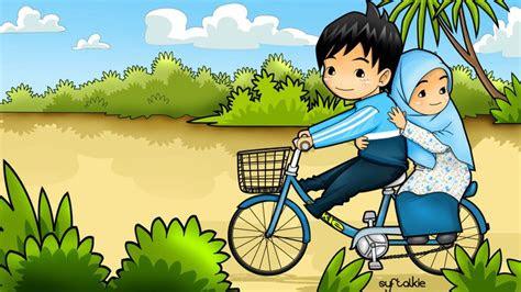bersepeda berdua kartun dakwah islam kumpulan gambar