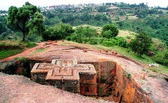 The belowground church of St. George in   Lalibela, Ethiopia.
