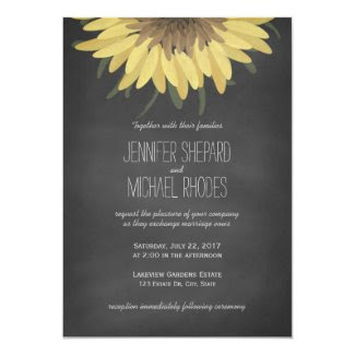 Sunflower Chalkboard Rustic Wedding 5x7 Paper Invitation Card