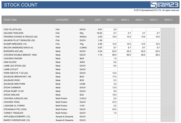 Food Stocktake | Free Template for Excel