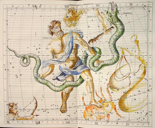 004-Ofiucus y la Serpiente-Atlas Coelestis-coloreado a mano edicon de 1753 Londres-John Flamsteed