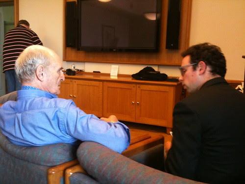 Tarn & Feinsod chatting before Tarn's reading