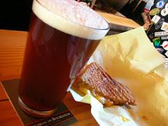 beer and grilled cheese sandwich