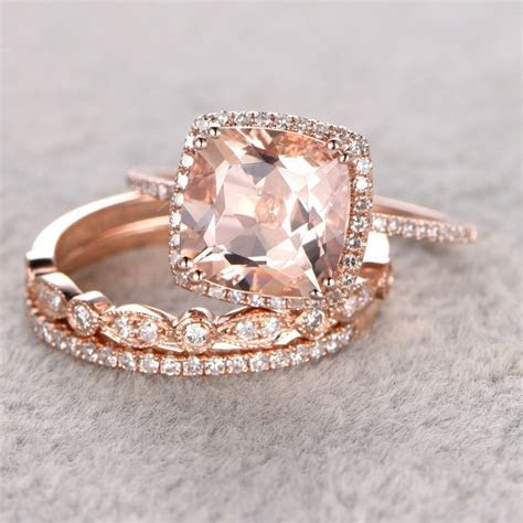 Ring for Women 3pc 9mm 0.3CT Morganite Engagement Set 14k