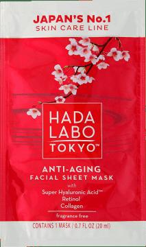 Hada Labo Tokyo, Anti-Aging Facial Sheet Mask, przeciwzmarszczkowa maska nawilżająca na tkaninie, 1 szt., nr kat. 260941