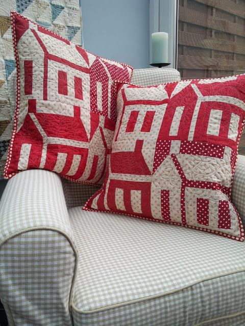 white and red house quilted cushions