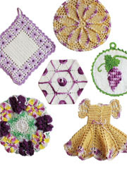 Vintage Purple Potholders Pattern Pack - Electronic Download