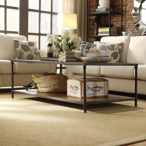 INSPIRE Q Harrison Industrial Rustic Pipe Frame Accent Coffee Table