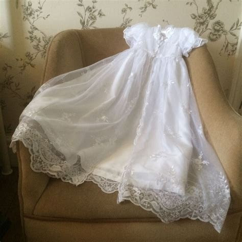 OLD FASHION LONG WHITE BABY GIRLS CHRISTENING GOWN DRESS