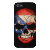 Puerto Rican Flag Skull on Black Case For iPhone 5/5S